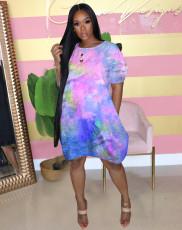 Fashion Casual Tie-dye Print Short Sleeves Loose Dress WAF-7051