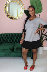 Trendy Patchwork Half Sleeve Mini Dress YH-5173