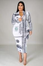 Plus Size Dollar Print Long Sleeve Slim Midi Dress BMF-021