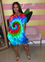 Fashion Casual Sexy Tie-dye Print Short Sleeves Loose Dress WAF-7052
