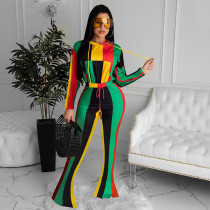Colorful Striped Hooded Long Sleeve 2 Piece Sets GLF-8030