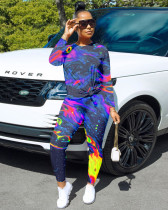 Tie-dye Print Casual Long Sleeve Top And Pants Two Piece Set MUM-5055