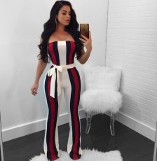 Sexy Striped Off Shoulder Sashes Tube Jumpsuits OY-6213