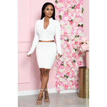 Solid Long Sleeve Mini Skirt Two Piece Sets BLX-7524