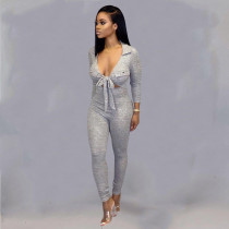 Sexy V Neck Tie Up Long Sleeves Skinny Jumpsuits BS-1228