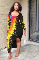 Sexy Printed Long Sleeves Split Long Dress MIL-158