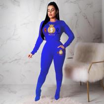 Plus Size Casual Printed Long Sleeve 2 Piece Pants Set YN-1033