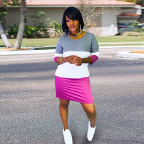 Contrast Color Three Quarter Sleeve Mini Dress YIM-138