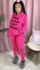 Letter Print Hoodies Long Pants 2 Piece Suits QZX-6157