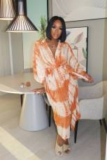 Plus Size Tie Dye Batwing Sleeves Long Dress YM-9238