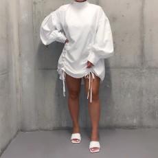 Solid Long Sleeves Loose Shirt Dress YM-8002