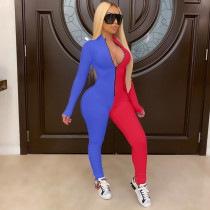 Color Block Spliced Sexy Bodycon Long Sleeve Party Jumpsuit BLX-7204