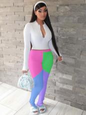 Contrast Color Long Seeve Two Piece Pants Set QY-5207