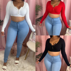 Sexy Knitted Long Sleeves Slim Crop Tops SMD-2038
