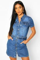 Plus Size Denim Short Sleeve Buttons Slim Mini Dress LX-6032