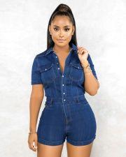 Plus Size Denim Short Sleeve Jeans Rompers LX-6028