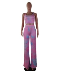 Tie Dye Tank Tops And Pants Two Piece Sets SMF-8025