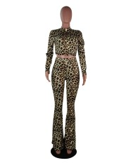 Leopard Long Sleeve Flared Pants 2 Piece Sets Without Mask SMF-8026