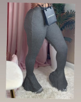 Solid Sexy Ruffled Tight Flared Pants CM-773
