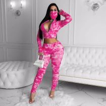 Tie Dye Long Sleeve Ruched 2 Piece Sets Without Mask SMF-8028