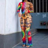 Plus Size Tie Dye Leopard Long Sleeve 2 Piece Sets WAF-7064