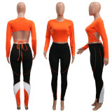 Casual Long Sleeve Backless Two Piece Pants Set SH-3865