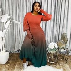 Plus Size Gradient Long Sleeve Maxi Dress WAF-7066