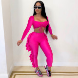 Sexy Solid Long Sleeves Ruffled Pants 2 Piece Sets YF-9718