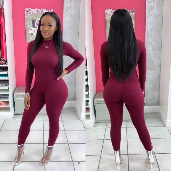 Plus Size Solid Long Sleeves Two Piece Pants Set WAF-7069