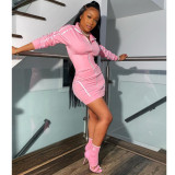 Casual Long Sleeve Zipper Mini Dress YIY-5210