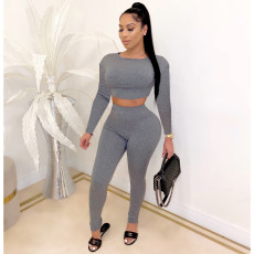 Solid Long Sleeve Two Piece Pants Set CHY-1251