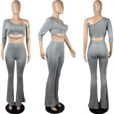 Plus Size Sexy One Shoulder Flared Pants 2 Piece Sets MYF-691
