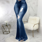 Plus Size Denim Ripped Hole Skinny Flared Jeans HSF-2318
