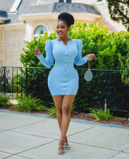 Plus Size Long Puff Sleeves Bodycon Mini Dress OM-1168