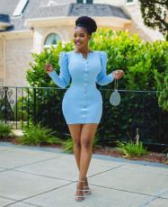 Plus Size Long Puff Sleeves Bodycon Mini Dress OM-1168