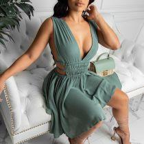 Sexy Chiffon Deep V Backless Sleeveless Mini Dress AIL-119