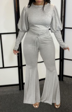 Solid Puff Sleeve Flared Pants Two Piece Pants Set MUL-142