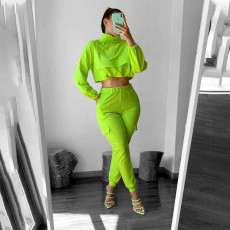 Casual Solid Long Sleeves Two Piece Pants Set AWF-0026