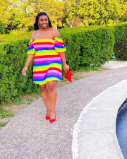 Plus Size Colorful Striped Sexy Off Shoulder Dress YUF-9034
