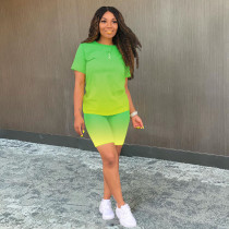 Gradient T Shirt And Shorts Two Piece Sets YUF-9026