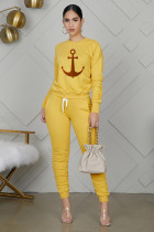 Casual Printed Long Sleeve Ruched 2 Piece Pants Set YUF-9033