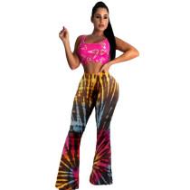 Trendy Tie Dye Print Long Flared Pants YUF-9037