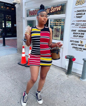 Sexy Colorful Striped Sleeveless Mini Dress YUF-9031