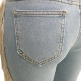 Plus Size Fashion Personality Street Trend Ripped Tassel Jeans SH-3658