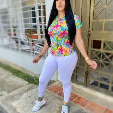 Casual Printed T Shirt And Pants Two Piece Sets YUF-9021