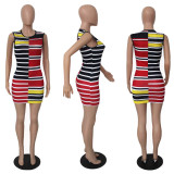 Sexy Colorful Striped Sleeveless Mini Dress YUF-9031