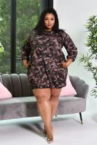 Plus Size Camo Print Long Sleeve Mini Dress YUF-9038
