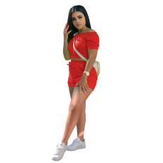 Solid Slash Neck Short Sleeve 2 Piece Shorts Set YUF-9008