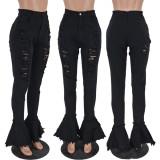 Denim Ripped Hole High Waist Flared Jeans YH-5175