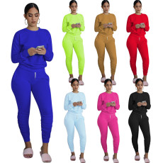 Solid Long Sleeve Ruched Pants Two Piece Sets MIL-168